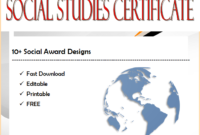 10+ Social Studies Certificate Templates Free Download with regard to Editable Certificate Social Studies