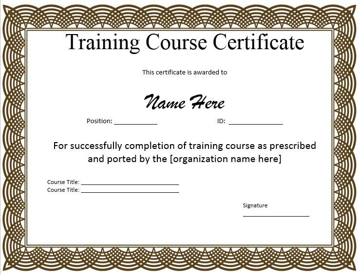 10+ Training Certificate Templates | Word, Excel & Pdf In Unique Training Completion Certificate Template 10 Ideas