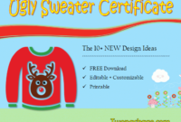 10+ Ugly Sweater Certificate Template Free Printables within Free Ugly Christmas Sweater Certificate Template
