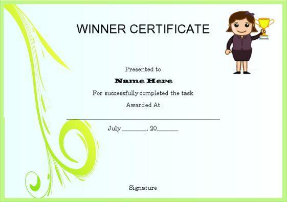 10+ Winner Certificate Templates | Free Printable Word & Pdf for Winner Certificate Template Ideas Free