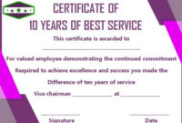 10 Years Service Award Certificate: 10 Templates To Honor for Fresh Employee Certificate Template Free 10 Best Designs