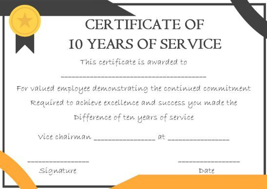10 Years Service Award Certificate: 10 Templates To Honor pertaining to Fresh Employee Certificate Template Free 10 Best Designs