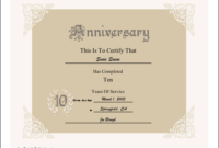 10Th Anniversary Printable Certificate | Printable for Best Free Printable Best Husband Certificate 7 Designs