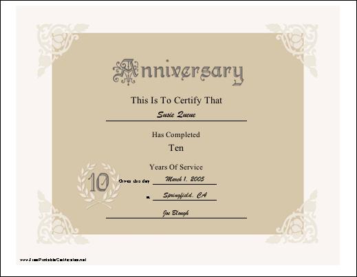 10Th Anniversary Printable Certificate | Printable For Best Free Printable Best Husband Certificate 7 Designs