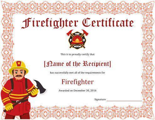 11+ Firefighter Certificate Templates | Free Printable Word Regarding Firefighter Certificate Template Ideas