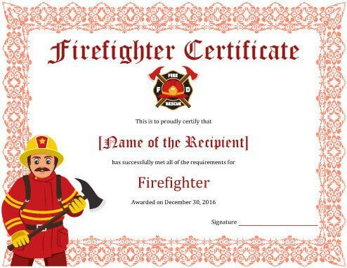 11+ Firefighter Certificate Templates | Free Printable Word throughout Firefighter Training Certificate Template