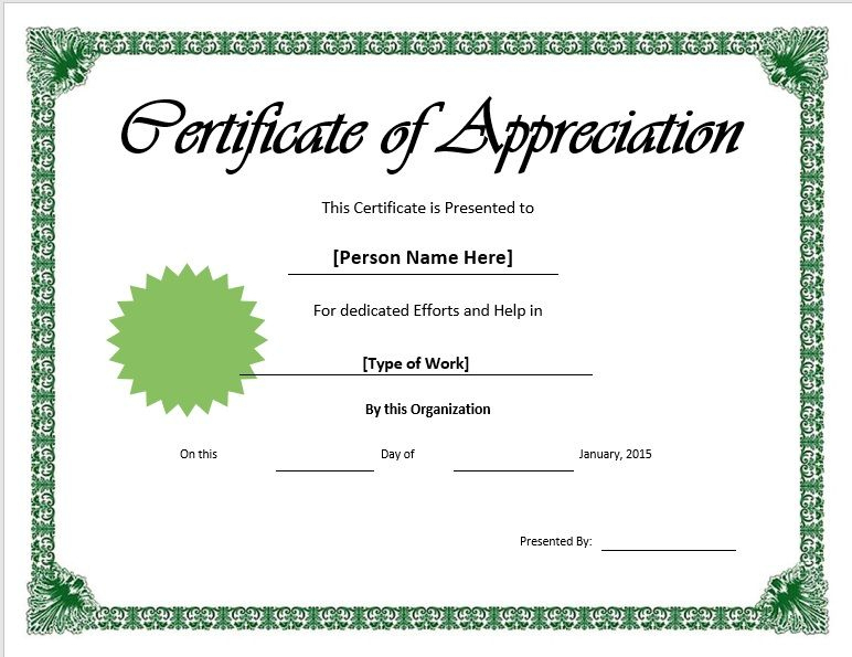 11 Free Appreciation Certificate Templates - Word Templates Inside Fresh Certificate Of Recognition Template Word
