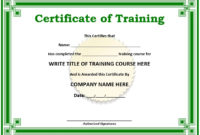 11 Free Sample Training Certificate Templates – Printable pertaining to Best Training Course Certificate Templates