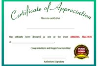 11+ Printable Certificates Of Appreciation For Teachers with regard to Unique Teacher Appreciation Certificate Templates