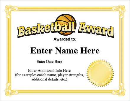12+ Basketball Awards Certificates - Pdf | Examples Pertaining To 7 Basketball Achievement Certificate Editable Templates