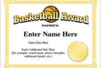 12+ Basketball Awards Certificates – Pdf | Examples regarding Fresh Download 10 Basketball Mvp Certificate Editable Templates