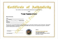 12+ Certificate Of Authenticity Templates – Word Excel Samples regarding Unique Certificate Of Authenticity Templates