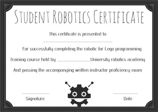 12+ Robotics Certificate Templates For Training Institutes Intended For Fresh Robotics Certificate Template Free