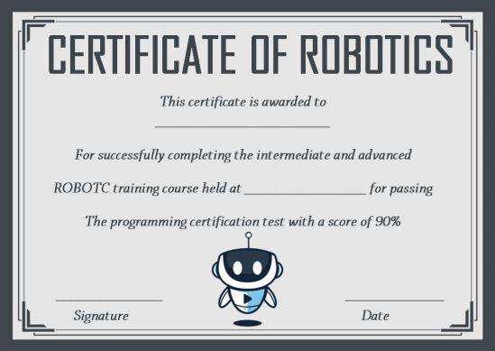 12+ Robotics Certificate Templates For Training Institutes intended for Unique Robotics Certificate Template