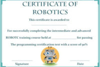 12+ Robotics Certificate Templates For Training Institutes regarding Fresh Robotics Certificate Template Free