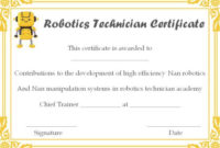 12+ Robotics Certificate Templates For Training Institutes with Fresh Robotics Certificate Template Free