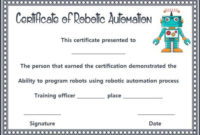 12+ Robotics Certificate Templates For Training Institutes with regard to Robotics Certificate Template Free