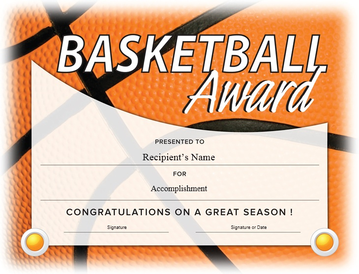 13 Free Sample Basketball Certificate Templates - Printable Throughout Fresh Basketball Certificate Templates