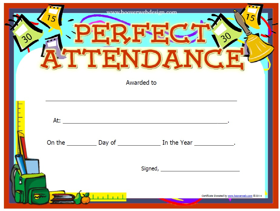 13 Free Sample Perfect Attendance Certificate Templates Inside Printable Perfect Attendance Certificate Template