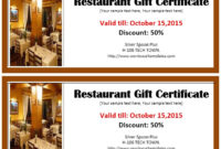 13 Free Sample Restaurant Voucher Templates – Printable Samples regarding Best Restaurant Gift Certificate Template 2018 Best Designs