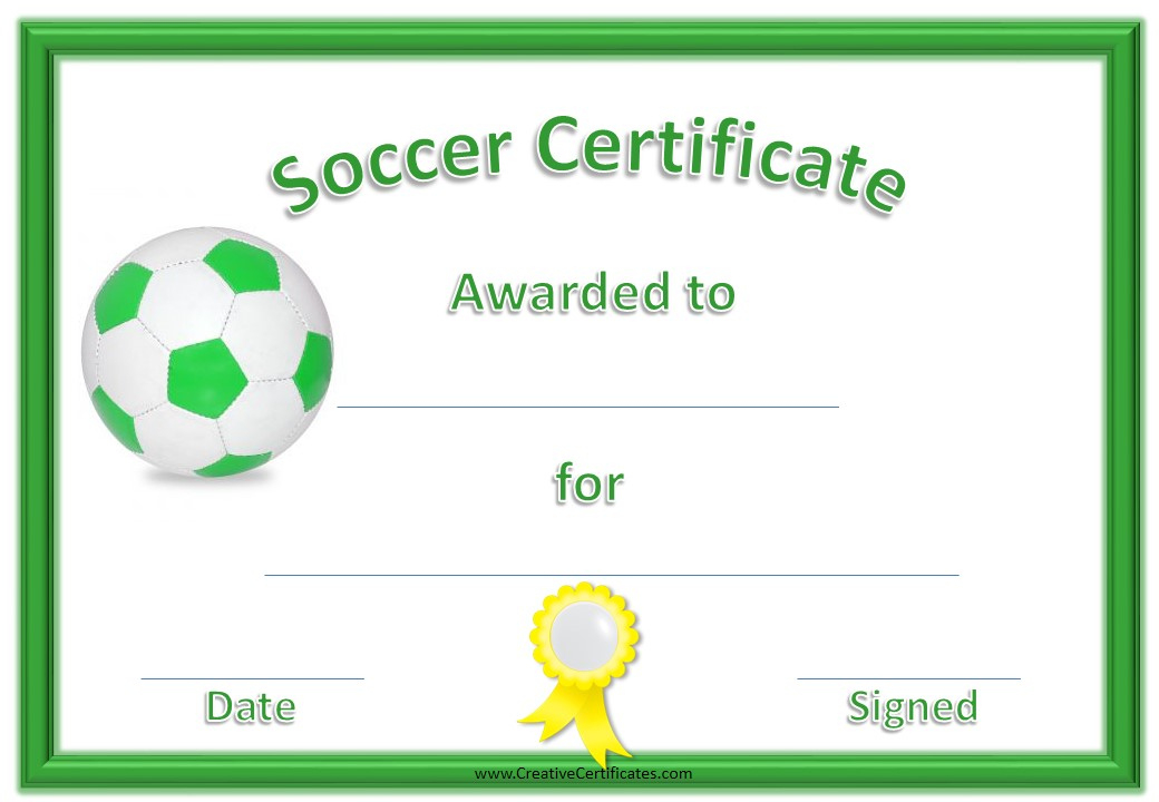 13 Free Sample Soccer Certificate Templates - Printable Samples For Fresh Soccer Certificate Template Free