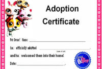 15+ Free Printable Real & Fake Adoption Certificate Templates intended for Fresh Pet Adoption Certificate Template Free 23 Designs