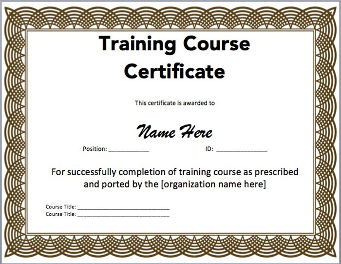 15 Training Certificate Templates - Free Download inside Best Training Course Certificate Templates