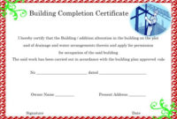 16+ Construction Certificate Of Completion Templates intended for Fresh Certificate Of Construction Completion