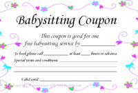17 Blank Babysitting Card Template Design Images – Printable regarding Babysitting Gift Certificate Template