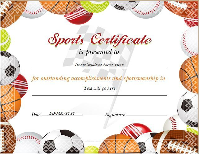 17+ Sports Certificate Templates | Free Printable Word & Pdf With Regard To 10 Sportsmanship Certificate Templates Free
