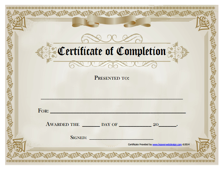 18 Free Certificate Of Completion Templates | Utemplates Inside Certificate Of Sobriety Template Free