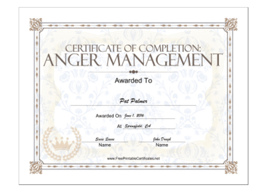 18 Free Certificate Of Completion Templates | Utemplates With Fresh Anger Management Certificate Template Free