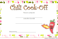 1St Place Chili Cook-Off Certificate Free Printable 3 pertaining to Fresh Chili Cook Off Award Certificate Template Free