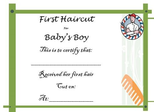 20 Free Baby S First Haircut Certificate Templates With Regard To Fresh First Haircut Certificate Printable Free 9 Designs
