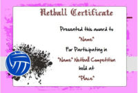 20 Netball Certificates: Very Professional Certificates To intended for Netball Participation Certificate Templates