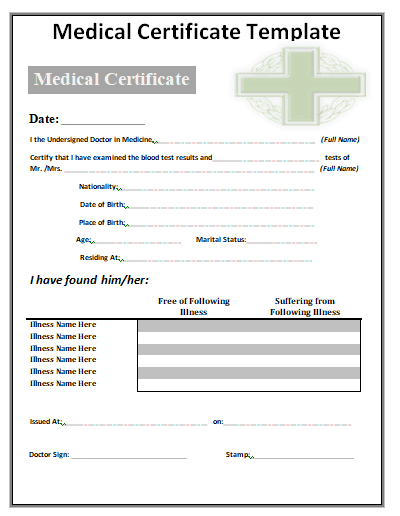 21+ Free Medical Certificate Templates - Word Excel Formats Inside Physical Fitness Certificate Template Editable