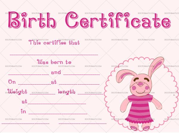 22+ Birth Certificate Templates - Editable & Printable Designs Regarding Best Rabbit Birth Certificate Template Free 2019 Designs