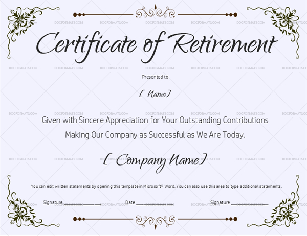 22+ Retirement Certificate Templates - In Word And Pdf | Doc in Fresh Retirement Certificate Templates