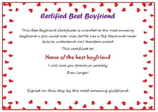 23 Best Boyfriend Certificates That Can Make Your Loved Ones Throughout Best Best Girlfriend Certificate 10 Love Templates