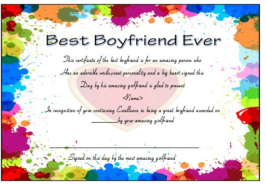 23 Best Boyfriend Certificates That Can Make Your Loved Ones With Best Girlfriend Certificate 10 Love Templates