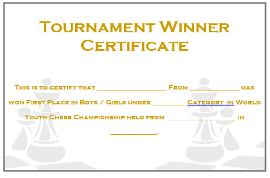 23 Free Printable Chess Certificates You Can Use For Chess In Best Chess Tournament Certificate Template Free 8 Ideas