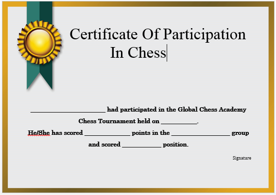 23 Free Printable Chess Certificates You Can Use For Chess Within Chess Tournament Certificate Template Free 8 Ideas