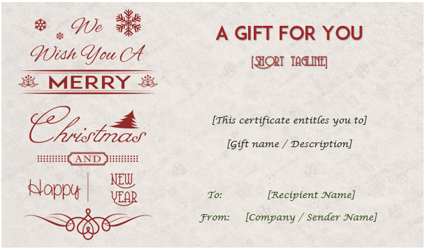 24+ Christmas & New Year Gift Certificate Templates Throughout Unique Christmas Gift Certificate Template Free