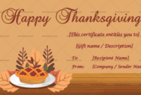 24+ Thanksgiving Gift Certificate Templates – Customizable regarding Thanksgiving Gift Certificate Template Free