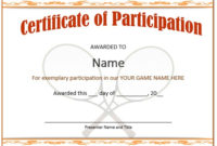 25 Free Tennis Certificate Templates – Download, Customize within Tennis Participation Certificate