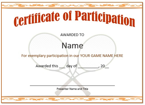 25 Free Tennis Certificate Templates - Download, Customize Within Tennis Participation Certificate