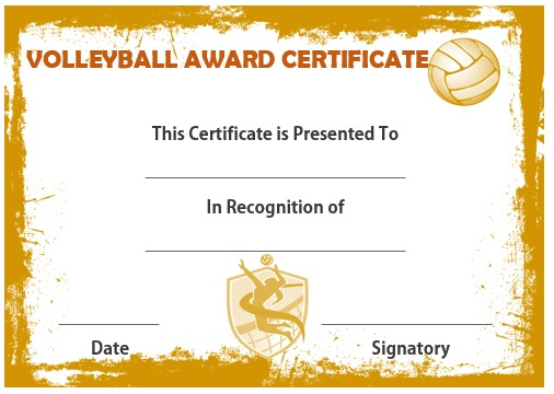 25 Volleyball Certificate Templates - Free Printable Intended For Unique Volleyball Mvp Certificate Templates