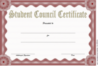 2Nd Student Council Certificate Template Free In 2020 within Best Student Council Certificate Template