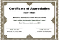 30 Free Certificate Of Appreciation Templates And Letters for Certificate Of Appreciation Template Word