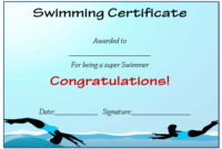 30 Free Swimming Certificate Templates : Printable Word with Best Swimming Achievement Certificate Free Printable